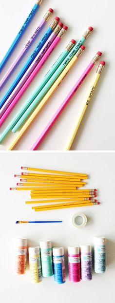 Painted Back-to-School Pencils   Click Pic for 18 DIY Back to School Crafts for Teens to Make   Easy Back to School Crafts for Kids to Make