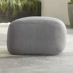 Outdoor Square Graphite Pouf | Crate and Barrel