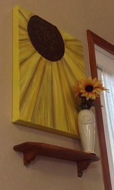 SUNFLOWER -Textured 16x20 acrylic painting. 1.5 inch deep gallery wrapped, back stapled canvas.