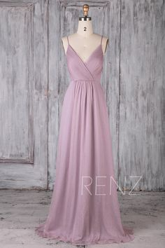 Bridesmaid Dress Dusty Lavender Chiffon DressWedding