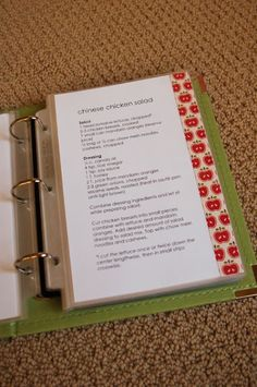 all things simple: family favorites recipe book....clever way to organize recipes