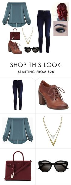 """student (college)"" by shadamaeisha ❤ liked on Polyvore featuring Lucky Brand, BCBGMAXAZRIA, Yves Saint Laurent and Too Faced Cosmetics"
