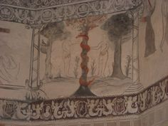 Maravilloso fresco en la iglesia de Toril, actual Centro de Interpretación de Monfragüe.
