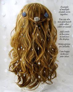 Hair Extensions Swarovski Crystals Freshwater Pearls Bohemian Wedding Long Hair Jewelry Bridal Veil by OhFaro on etsy