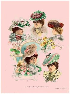antique victorian fashion illustration easter hats digital download