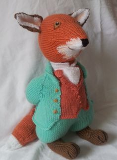 Beatrix Potter Mr Todd. Knitted toy.