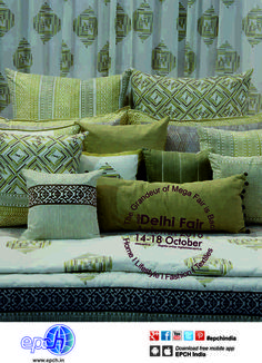 Cottons and blends in pure geometrics ….prints, textures & patterns in home textiles...at the upcoming IHGF Delhi Fair Autumn, 2016 #hometextiles #homedecor #tradeshow #ihgf