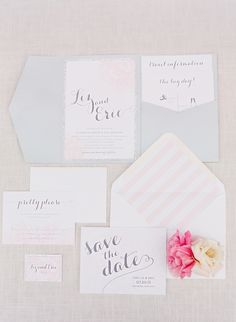 Wedding Invitations | Wedding Colors: Gray + Pale Pink | Design: Just Ink on Paper | Photography: Jodi Miller Photography | See the Wedding on SMP: http://www.stylemepretty.com/2013/11/20/a-maryland-estate-wedding-from-jodi-miller-photography/