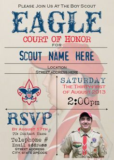 Court of Honor invitation... use one of norman rockwell's boy scout pics as faded background