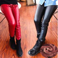 Autumn Winter Kids Pants Children Clothing PU Leather Double Plus Thick Velvet Girls Leggings Child Baby Warm Trousers Black Red $11.62 => Save up to 60% and Free Shipping => Order Now! #fashion #woman #shop #diy www.uniquebaby.ne...