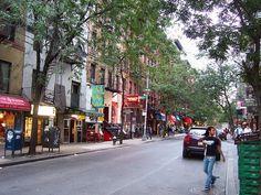 Macdougal Street, Greenwich Village  A row of shops and restaurants in Greenwich Village, Manhattan, New York.