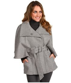 Marc New York by Andrew Marc Aerial Wool Cape Grey Melange