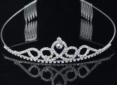 Bridal Princess Austrian Crystal Tiara With Hair Combs Wedding Crown Veil Hair Accessory DDFJTC030
