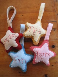 Done! ~ used bead blanket stitch around the edge. Personalized Star Ornament (no link)