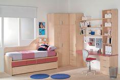 R72 - Dormitorio juvenil con cama nido con cajones, armario con cajones, estantes, biblioteca y mesa de estudio - Facil Mobel, fábrica de muebles a medida en barcelona, catálogo de armarios, juveniles, salones, dormitorios matrimoniales y complementos. Ofertas y solicitud de presupuestos.