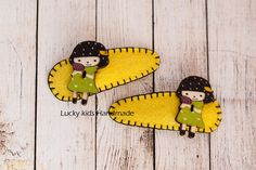 Felt hair clip with a girl wooden button a by LuckyKidsHandmade