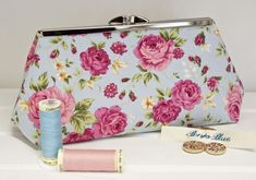 Clutch Bag - Purse - Hand Bag - Evening Bag - Prom Bag - Handmade bag featuring pretty old-fashioned pink retro roses on a blue background Small Rabbit, Enamel Jewelry, Pink Fashion, Blue Backgrounds, Bag Sale, Beautiful Hands, Pet Portraits, Coin Purse, Handmade Items
