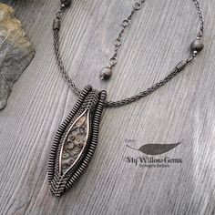 Copper Wire Wrapped Marquise Necklace  Polymer by MyWillowGems
