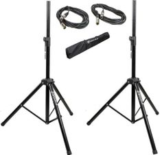 Brand New Pair Rockville RVSS2-XLR of Hevy Duty Adjustable Pro PA Speaker Stands + (2) 20' XLR Cables + Carrying Case by Rockville. $59.95. Adjustable Height Steel Construction Black Color Weight capacity: 100 LBS Adjustable Height Range: 47.25-78.75 inches Base spread: 15-40 inches Tube Diameter: 1.5 - 1.37 inch Leg Diameter: 1.37 inch Includes (2) 20 Foot XLR Female to XLR Male Cables Includes (1) Travel Bag. Save 50%!