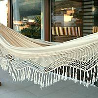 Cotton hammock, 'Manaus Majesty' (double), handmade from Novica. This is the hammock I chose to replace my bed. It's roomy and incredibly comfortable.