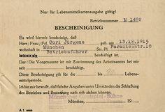 Nachlass Curd Jürgens | Lebensmittelkarte, [1946]