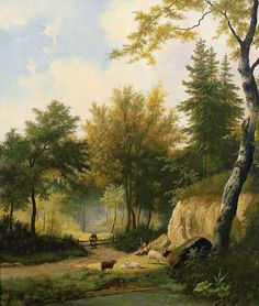 Hendrik_Pieter_Koekkoek_-_Idyllic_summer_forest_landscape_with_sheep_on_a_sunlit_glade_next_to_creek.jpg (1004×1184)