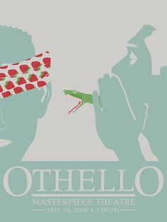 Othello by William Shakespeare William Shakespeare, Shakespeare Plays, Play Poster, Poster Art, High School Literature, English Literature, Othello Quotes, Magazine Design, August Strindberg