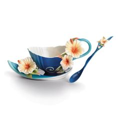 Island Hibiscus Cup Saucer and Spoon Set from the Franz Collection