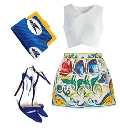 Pattern me blue by staciapandalover on Polyvore featuring polyvore, fashion, style, Chicwish, Dolce&Gabbana, Prada, SCENERY and clothing