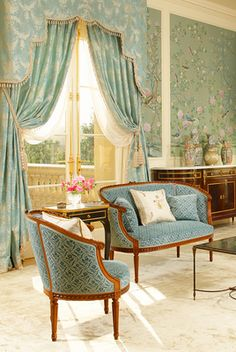 Hand painted chinoiserie walls and soft blue upholstery. Such a rich play of patterns. David Desmond Interior Design (www.daviddesmond.com) More Great Looks Like This