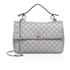 Valentino Rockstud Spike Large Quilted Leather Chain Shoulder Bag (5,930 BAM) ❤ liked on Polyvore featuring bags, handbags, shoulder bags, light grey, flap handbags, chain strap purse, chain shoulder bag, flap purse and valentino purses