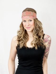 Coral Lace Headband Wide Pink Tan Stretch Rose by ForgottenCotton, $15.00