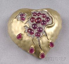 18kt Gold, Ruby, and Diamond - Pomegranate Heart - Brooch, Salvador Dali, Henryk Kaston
