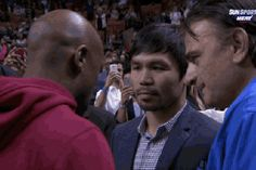 Floyd Mayweather and Manny Pacquiao Sit Courtside at Heat Game