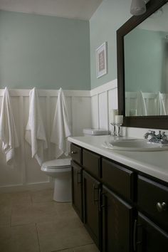 Sherwin Williams Sea Salt-love this color. Love the white wainscotting and dark vanity and mirror..