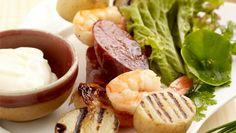 Try this baby potatoe chorizo and prawn skewers! Prawn Skewers, Kebabs, Irish Potatoes, Baby Potatoes, National Potato Day, Chorizo Sausage, Kebab Recipes, Bbq Ideas, Seasonal Food