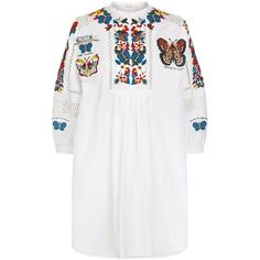 Valentino Embroidered Shirt Dress (12.360 BRL) ❤ liked on Polyvore featuring dresses, embroidered mesh dress, white mesh dress, embroidery dress, white dresses and floral embroidered dress