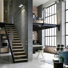 "Mnyr♣️interior on Instagram: ""I🖤loft #interiordesign#loft#lofthome#decorhome#inspiration#style#design#casa#natural#instagood#me#love"""
