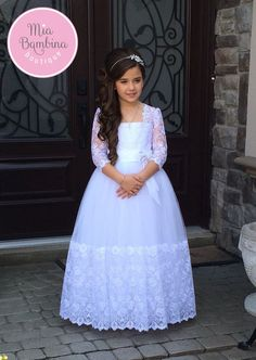 Lace long sleeved First Communion dress for her special Holy day. This stunning baptism girl dress has length sleeves and scalloped edged lace skirt, worldwide shipping from Canada Girls First Communion Dresses, Holy Communion Dresses, First Communion Party, Baptism Dress, First Holy Communion, Frocks For Girls, Girls Dresses, Pageant Dresses, Party Dresses