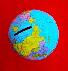 Metal Globe Bank by MollyWolf on Etsy, $11.00