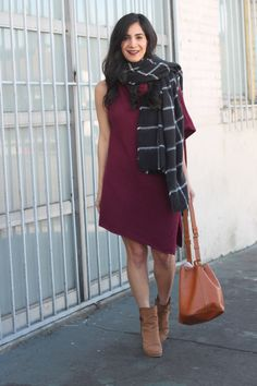 sweater dress, booties, & blanket scarf