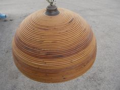 Huge Rattan Chandelier with white glass globe on Etsy, $198.00
