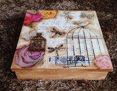 Caja romantica Shabby Decoupage Box, Decoupage Vintage, Crafts To Make, Arts And Crafts, Diy Crafts, Arte Country, Letter Holder, Cigar Boxes, Hat Boxes