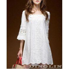 ╭⊰✿ ✿⊱╮Moda Femininas crochê laço Sólidos Casual  Discoteca Mini vestido branco 0114 -  /   ╭⊰✿ ✿⊱╮Female fashion crochet lace Solid Casual Disco Mini white dress 0114 -