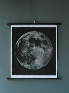 """The moon chart is a striking image. Chart is linen backed with nice deep  blacks against a silvery moon. Two color chart has simple and effective  palette that adds a great deal of depth to the piece. Piece is signed on  lower right in pencil by the artist. Measures: 28"""" x 29"""""""