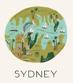 Sydney Print by Rifle Paper Co. #map #sydney #australia