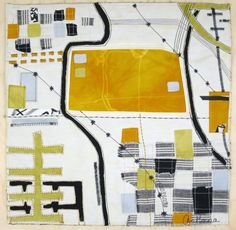 LineScape #17 map art quilt by © Ayn Hanna