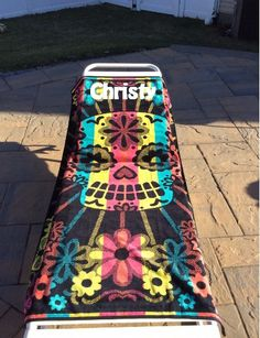Oversized Day of the Dead Sugar Skull Beach Towel Personalized by CACBaskets on Etsy Oversized Beach Towels, Day Of The Dead, Sugar Skull, Beach Mat, The Past, Outdoor Blanket, Unique Jewelry, Handmade Gifts, Kids