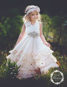 Flower girl dress boho flower girl dressrustic Ivory flower
