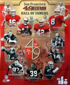 San Francisco 49'ers Hall of Famers Autographed 20x24 Photo.